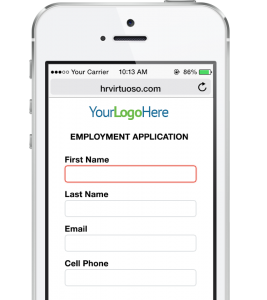 HR Virtuoso Recruiting Strategies Form on Phone - Mobile Application Form