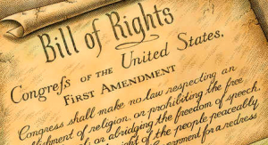 The First Amendment guarantees a right to free speech, with limitations.
